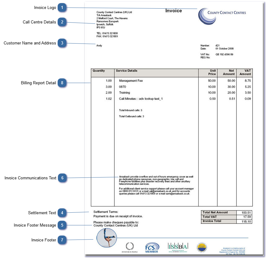 the content and layout of the invoice is determined by the settings and graphics specified in global billing options edit callcentre data